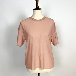 Pull&Bear | Sheer Mauve Top Women's Size Small